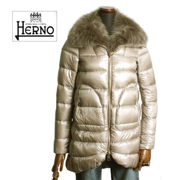 HERNO ヘルノ レディース ショート丈 ファー付き ダウンコート PI0166D 12017 2600 ライトベージュ