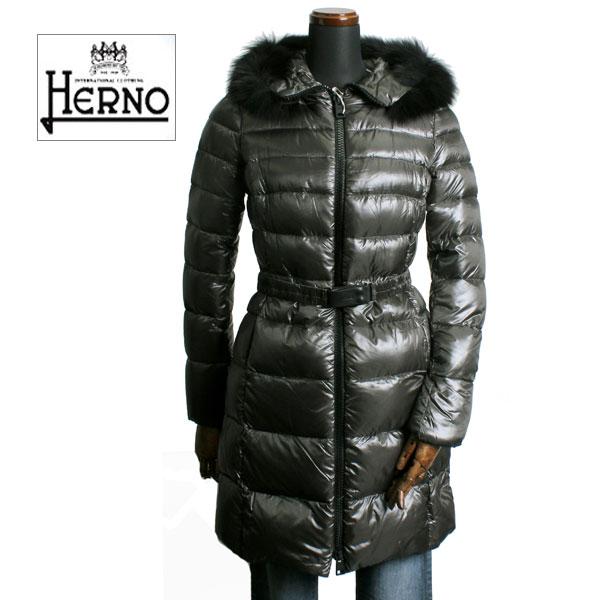 【HERNO ヘルノ ダウン レディース】HERNO ヘルノ レディース ファー付 ロング ダウンコート アウター PI0171D 12017 9480 グレー