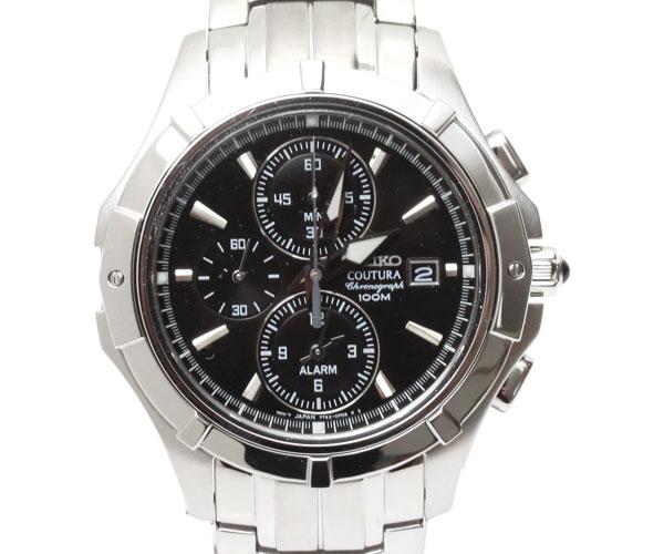 【送料無料】SEIKO セイコー メンズ腕時計 Coutura Alarm Chronograph コーチュラ アラーム クロノグラフ SNAE73P1 ブラック文字盤 メンズ 時計