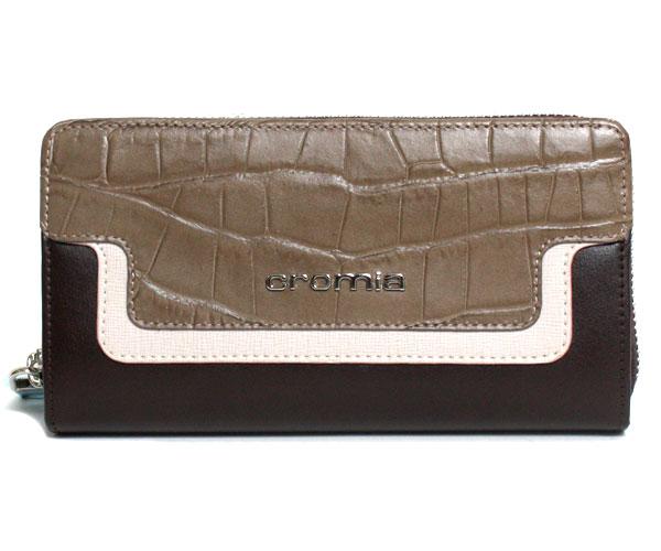 cromia クロミア ラウンドファスナー長財布 2640414SP-TP クロコ型押し イタリア製 トープ/ブラウン