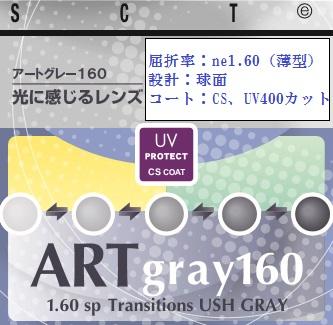 1.60調光レンズ (薄型) 【全商品ポイント10倍!6/25まで】 2枚1組 アートグレー160HM/ アートブラウン160HM