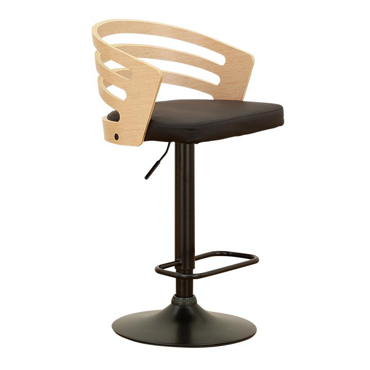 【割引クーポン配布中】【昇降機能付き/2色対応】 Slit(スリット) バーチェア 昇降式 カウンターチェア スタンドチェア ハイチェア 1人 おしゃれ 木製 背もたれ カウンター 椅子 高さ調節