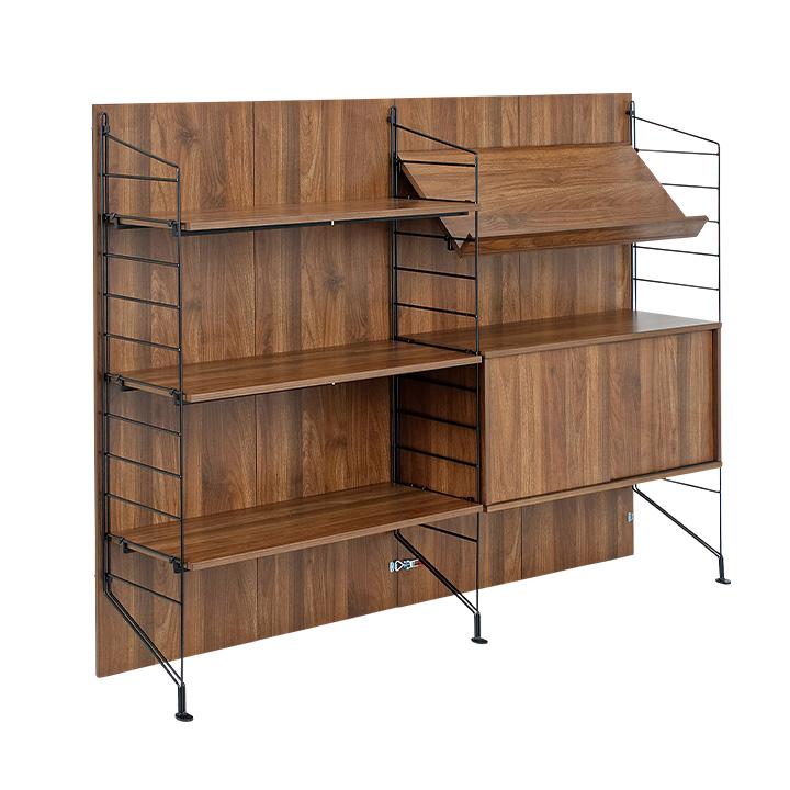 【耐震構造/簡単組立/組み替え可能】ezbo(イジボ) low+wide type sliding door set[1+3+5x3+6+9] 収納棚 木製 ラック 壁付け 扉付き 収納 引き戸 スチール おしゃれ シェルフ 収納家具 棚 組立ラック