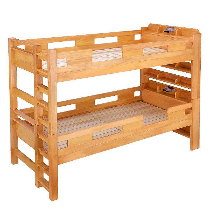 【耐荷重700kg/耐震/業務用可】G★SOLID 宮付き 二段ベッド H177cm 梯子無 ライトブラウン 2段ベッド 二段ベット 2段ベット 子供用ベッド 大人用 ベッド 頑丈 木製 宮棚