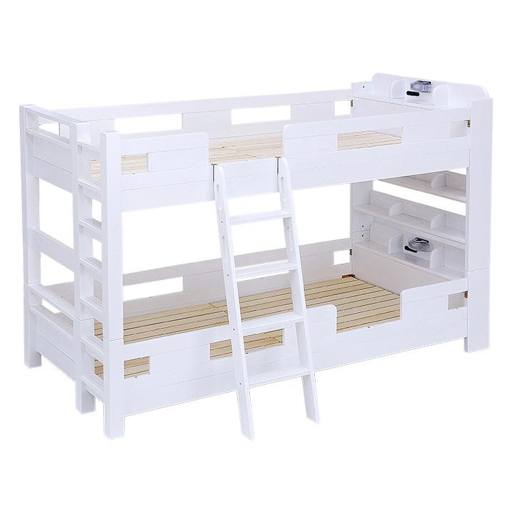 新作 耐荷重700kg 耐震 業務用可 G SOLID 宮付き 二段ベッド H147cm 梯子有 ホワイト 2段ベッド 大人用 ベッド 子供部屋 二段ベット 子供用ベッド 大型 木製 2段ベット 宮棚 頑丈 高級な