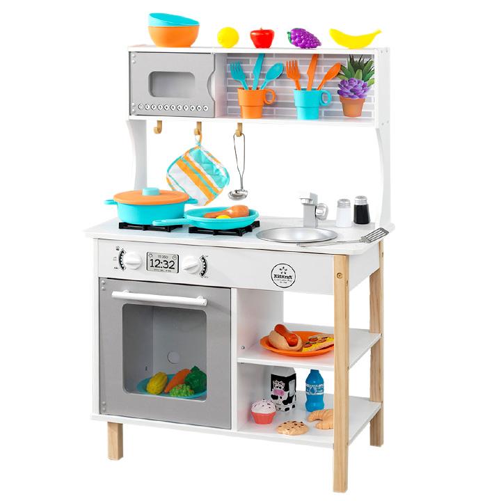 【すぐに遊べるおもちゃ39点付き】KidKraft 初めてのキッチン 木製 おもちゃ おままごと ままごとセット おもちゃセット 知育玩具 男の子 女の子 ごっこ遊び 家事 rvw