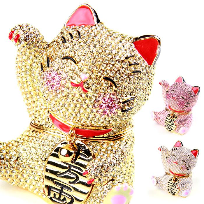 <煌めき招き猫 ジュエリーボックス>ネコ・招き猫の置物 右手を挙げているまねき猫は金運、幸運を呼ぶと言われています 小物入れにもなる縁起物 ピィアース ギフト 卒業 入学 可愛い 誕生日プレゼント 女性 クリスマス 新生活 母の日