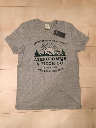 有名な アバクロ オンライン限定商品 アバクロンビー フィッチAbercrombie Sロゴプリント付半袖TシャツヘザーグレーNo.5613 Fitchメンズ