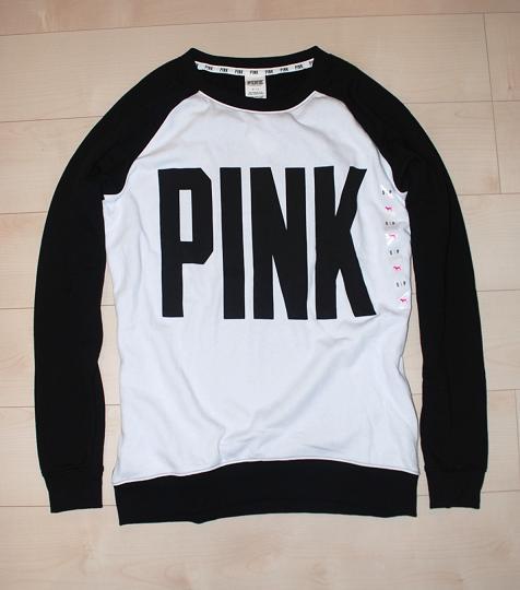 ビクトリアシークレット/PINK(ピンク)Victoria's Secret/PINKレディース / Sロゴグラフィック付長袖フリース(トレーナー)ブラック&ホワイトNo.4851