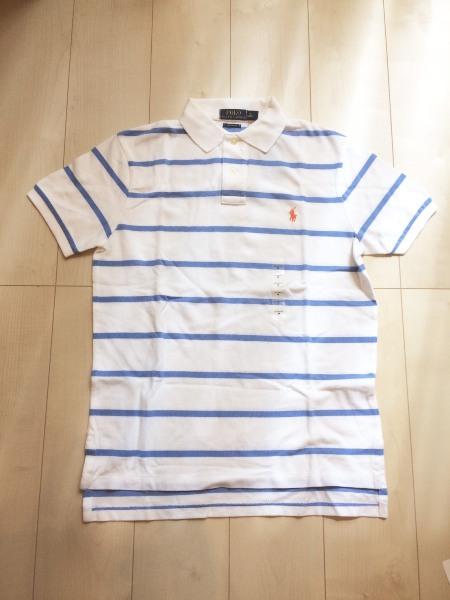 Ralph Lauren POLO (ラルフ・ローレン/ポロ)メンズ /Mロゴ刺繍付半袖ポロシャツ(カスタム・フィット)ホワイト・ストライプNo.5489