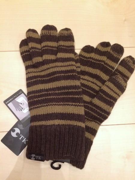 TAKEO KIKUCHI アイテム勢ぞろい 新発売 タケオ キクチ 100%本物保証 在庫品 即納可 メンズニット手袋ブラウン ストライプ2No.5421