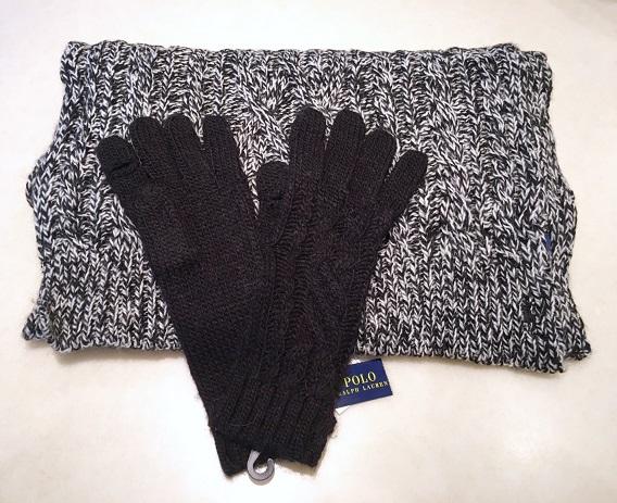 POLO Ralph Lauren(ポロ ラルフローレン)レディースニット・マフラー&手袋セットブラックNo.5645