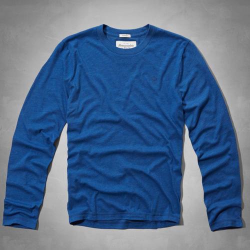 アバクロ アバクロンビー フィッチAbercrombie Fitch [正規販売店] 100%正規品保証 在庫品 日本全国 送料無料 即納可 XXLムース刺繍付長袖クルーネックTシャツブルーNo.5058 メンズ
