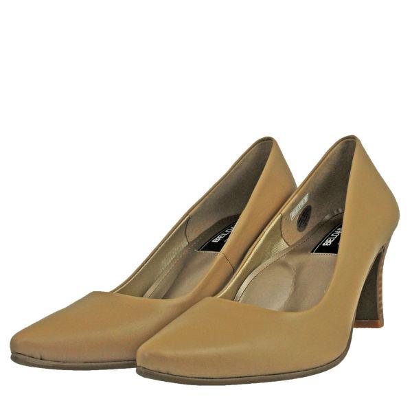 レディース 靴 パンプス ベルダッド 日本製 7cmヒール プレーンパンプス ライトオーク