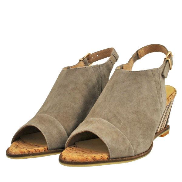 レディース 靴 サンダル オープントゥ モードエジャコモ マニュ ウェッジソール カバードサンダル グレースエード MNHX84099GYS