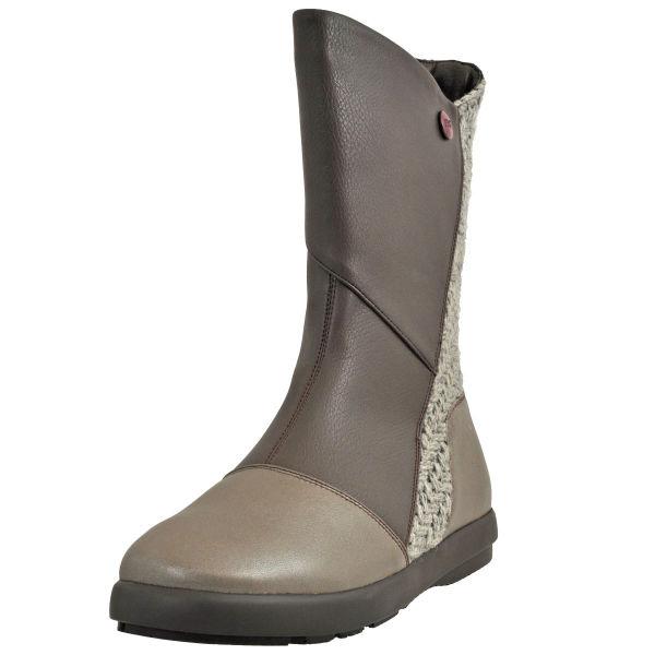 レディース 靴 ブーツ アラ パッチワーク ペタンコ ミドルブーツ グレー ARL6119GRY