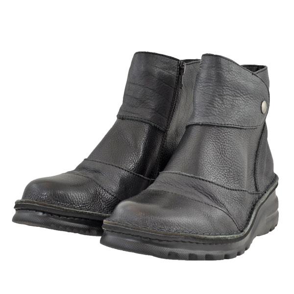 レディース 靴 ブーツ ドーラ 日本製 軽量 幅広 4E サイドファスナー ブラック Dola0151BLK