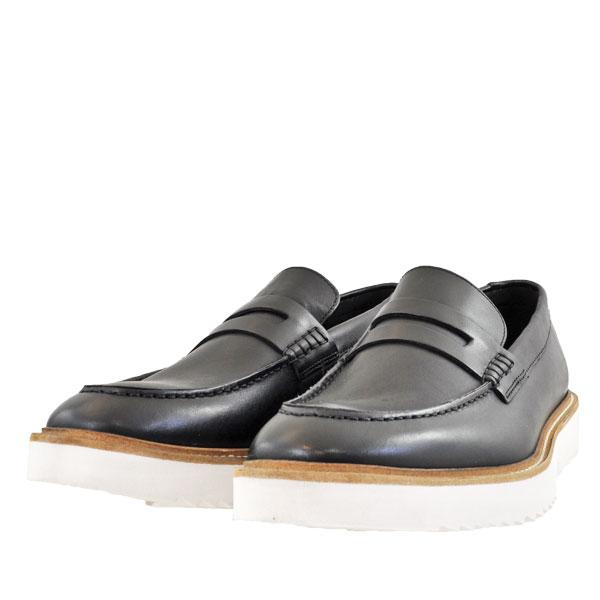 メンズ 靴 ローファー クラークス アーネストフリー 厚底 ブラックレザー Clarks26149516