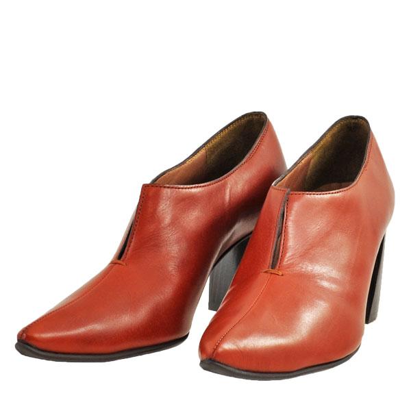 レディース 靴 パンプス ラボキゴシ ワークス 日本製 ポインテッドトゥ Vカット チャンキーヒール ブーティ ブラウン works9132-12279BR