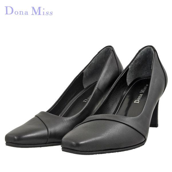 レディース 靴 パンプス ドナミス 7.5cmヒール ブラック DonaMiss6581BLK
