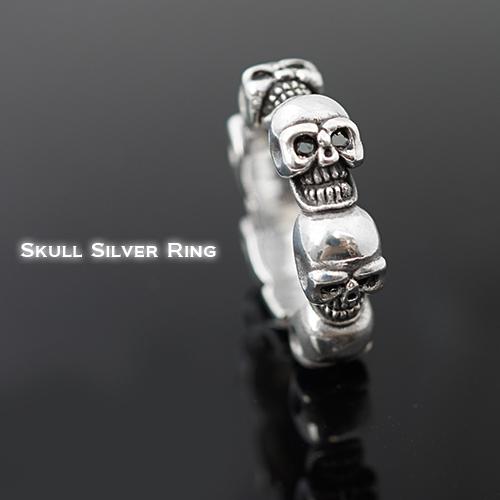 指輪 メンズ リング ROCKな定番アイテム スカルヘッドが一周 シルバー925 送料無料 春夏 大人気