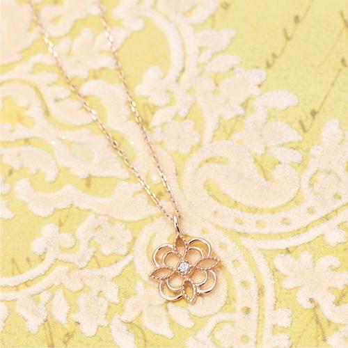 送料無料 ネックレス レディース ペンダント K10ピンクゴールド天然ダイヤが輝く透かし模様 プレゼント 春夏