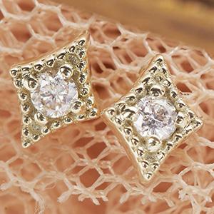 ピアス レディース スタッド K10 ダイヤモンド x2 ダイヤモチーフ ひし形 送料無料