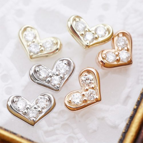 ピアス レディース スタッド K10 ダイヤモンド x2 パヴェハートモチーフ 大人ハート レディース シルバー ゴールド ピンクゴールド 送料無料