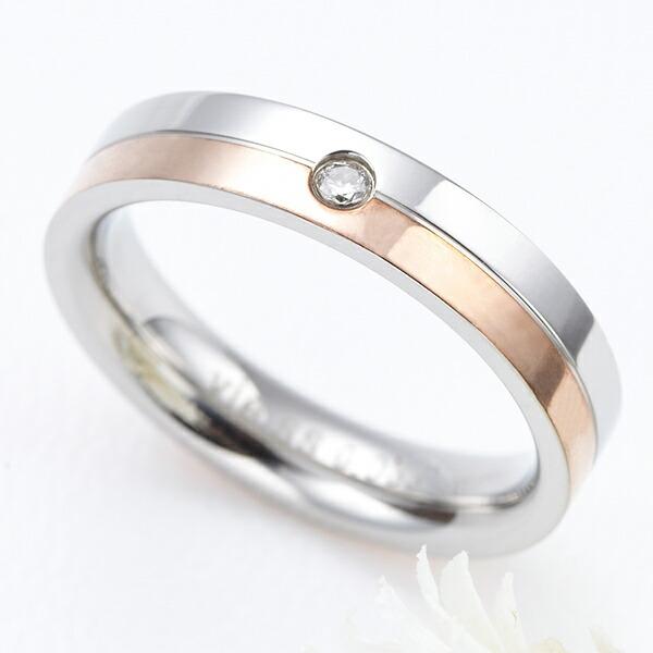 リング レディース 指輪 ピンキーリング レディース ダイヤモンド サージカルステンレス K18ピンクゴールド 金属アレルギー対応 安心 送料無料
