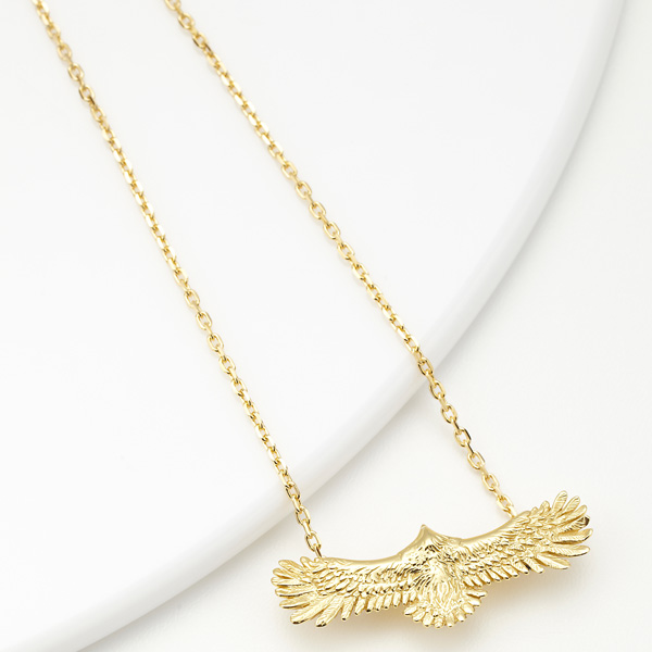 ネックレス メンズ シルバー925 ゴールド ペンダント イーグル 翼を広げた鷹 鷲 送料無料