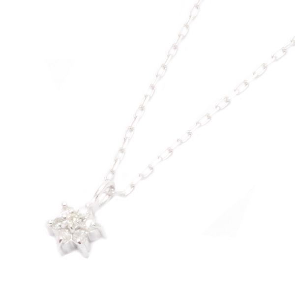 送料無料 天然石ダイヤモンドネックレス 雪の結晶モチーフ K10ホワイトゴールドの美しい輝き 宝石鑑別書カード付き 販売期間限定セール プレゼント 春夏 大人気