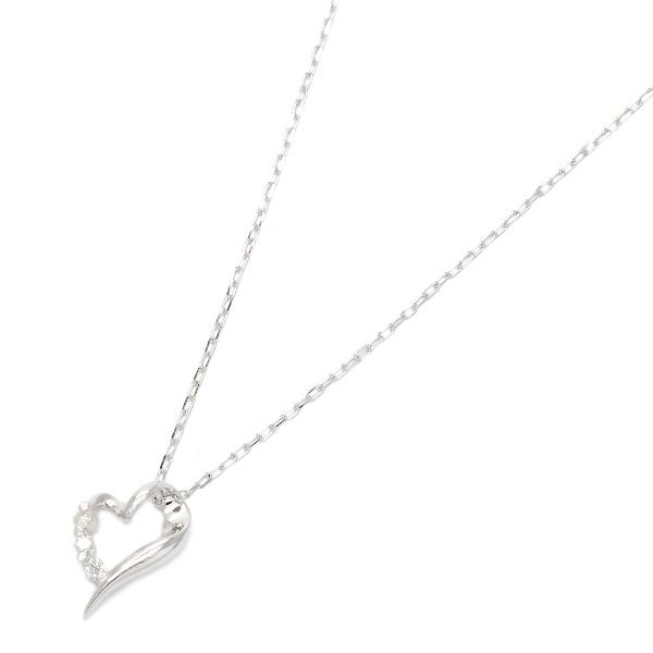 送料無料 ダイヤモンド使用スマートオープンハートネックレスK10ホワイトゴールドの美しい輝き 宝石鑑別書カード付き 販売期間限定セール プレゼント 春夏 大人気