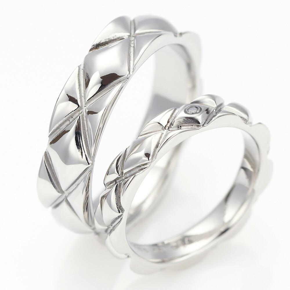 ペアリング メンズ レディース シルバーリング ひし形格子 デザインリング サージカルステンレス 金属アレルギー 安心 対応 おそろい ダイヤモンド 送料無料