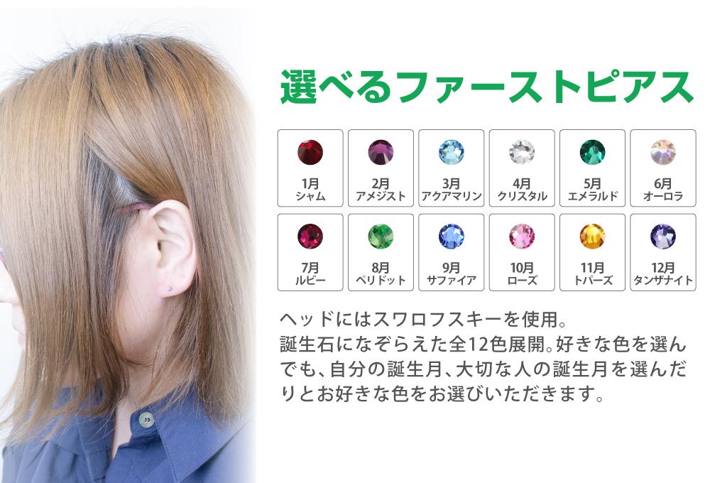 ピアッサー 両耳用 チタン製 金属アレルギー対応 医療用 ファーストピアス 誕生石12種類 ピアッシング固定機能付き ティピア メール便  あす楽 ピアス 開ける