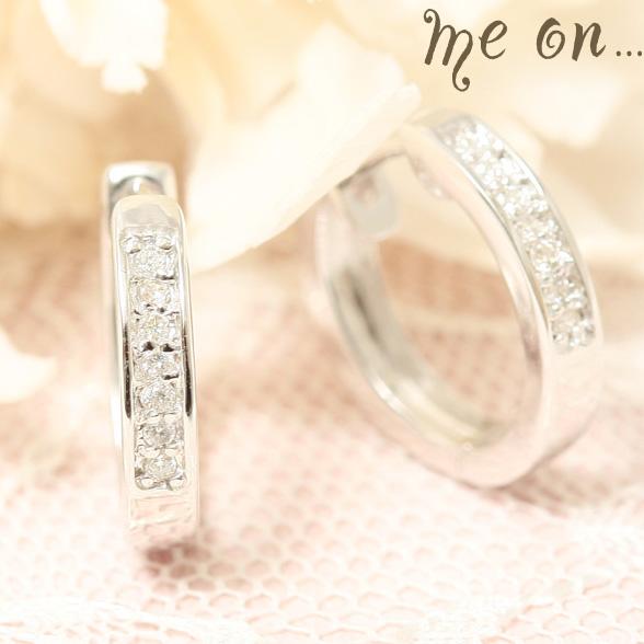 me on... 送料無料Total14粒のダイヤが煌く 1ランク上の本物の美しさ K10ホワイトゴールドWG エタニティリングタイプ ダイヤモンドピアス プレゼント 春夏