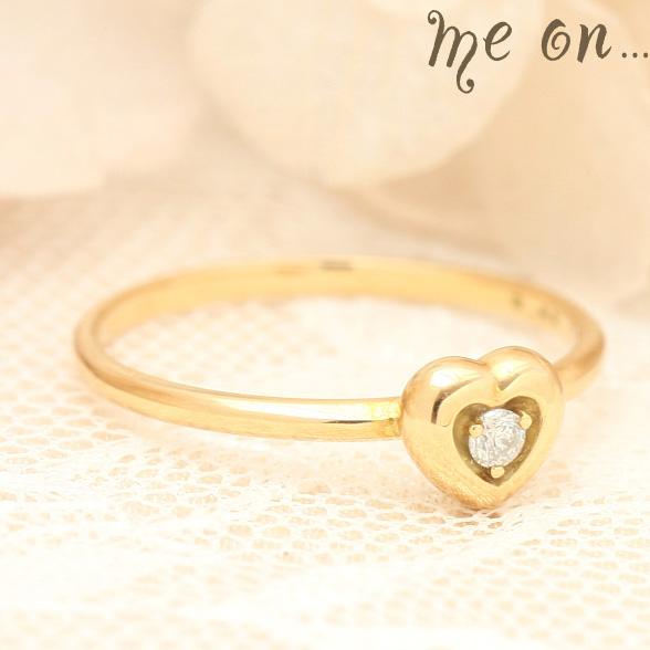 me on... 送料無料シンプルなアームにぷっくりと愛らしいハート K10イエローゴールドYG ピンクゴールドPGハートモチーフ ダイヤモンドリング お届けまで2~3週間程度 プレゼント 春夏