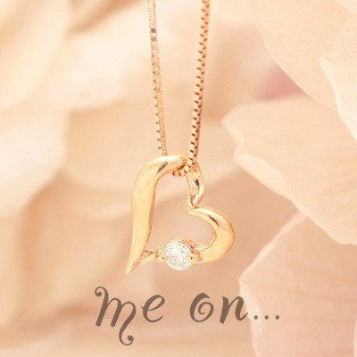 me on... 送料無料手書き風ハートに煌くダイヤ K10ピンクゴールドPGダイヤモンド オープンハートネックレス プレゼント 春夏