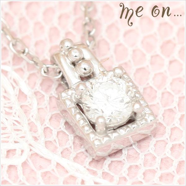 me on 送料無料0.1ctのダイヤモンドが光るラグジュアリーなペンダント K10ホワイトゴールドWGスクウェアペンダント ダイヤモンド0.1ctネックレス お届けまで2~3週間 プレゼント 春夏 大人気