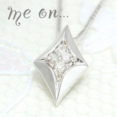 me on... 送料無料ダイヤに4つのダイヤモンドが輝く K10ホワイトゴールド ダイヤモチーフ フォーダイヤモンドネックレス プレゼント 春夏 大人気