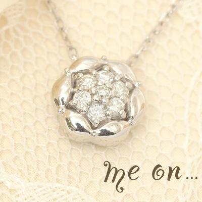 me on... 送料無料華のように咲くゴージャスな輝き Total0.1ctのダイヤモンドの結晶 K18ホワイトゴールドWGラグジュアリー ダイヤモンドパヴェ フラワーモチーフネックレス プレゼント 春夏 大人気