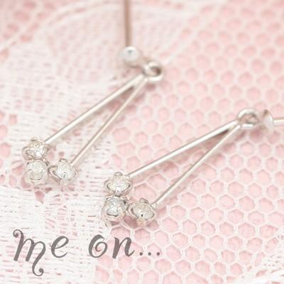 me on... 送料無料揺らめく上質なラグジュアリーダイヤモンド 3つのダイヤモンドK10ホワイトゴールドドロップピアス プレゼント 春夏 大人気