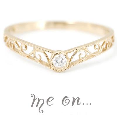 me on... 送料無料ダイヤモンドをトッピングした秀逸の一品 プリンセス カチューシャモチーフ K18イエローゴールド ダイヤモンドリング お届けまで2~3週間程度 プレゼント 春夏 大人気