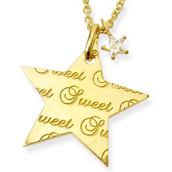 メッセージネックレス スター Sweet&HappyYellowGoldコーティング ファッション雑誌掲載 芸能人着用で話題のブランド「me」送料無料 プレゼント 春夏 大人気