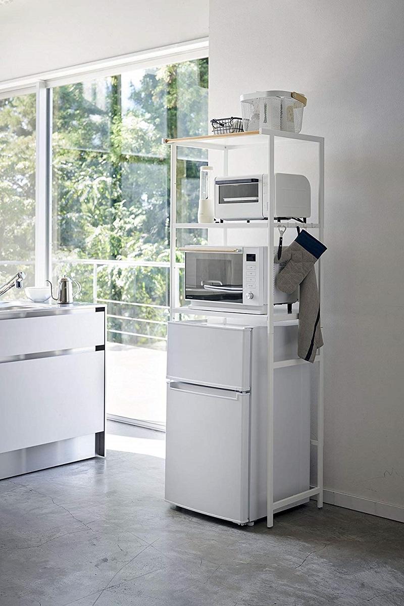 冷蔵庫ラック キッチンラック ハンガーバー付き 冷蔵庫上ラック タワー ホワイト ブラック ギフト プレゼント 春夏 大人気