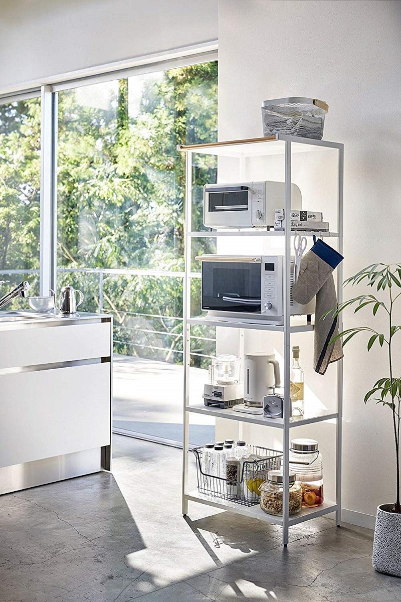 ハンガーバー付き キッチンラック 5段 タワー ホワイト ブラック フック付き 天然木 大容量 キッチングッズ ギフト プレゼント
