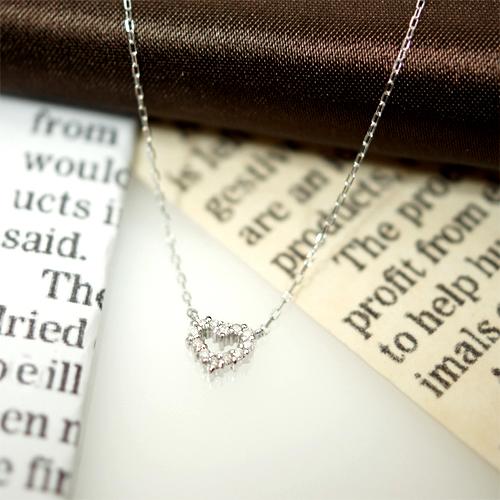 送料無料 0.06ctダイヤモンド使用ダイヤハートネックレスK10ホワイトゴールドの美しい輝き 宝石鑑別書カード付き