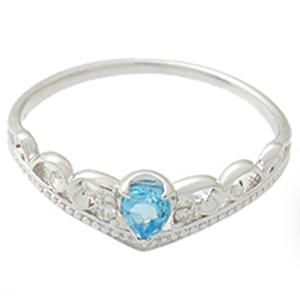 天然石ブルートパーズ K10ホワイトゴールド クラウンモチーフのリング[WG]ダイヤモンド 送料無料