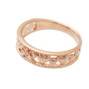K10ピンクゴールド 0,01Cダイアモンド ハートとリボンのキュートなピンキーリング ダイヤモンド 送料無料 宝石鑑別カード付き