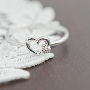 0,01Cダイアモンドが輝く シンプルデザインのハートのーリング ダイヤモンド 送料無料 宝石鑑別カード付き
