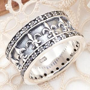 送料無料 メンズリング 指輪 シルバー925製 ユリの紋章 キュービックジルコニア スタイリッシュ 低アレルギー 17号~23号 17号 19号 21号 23号